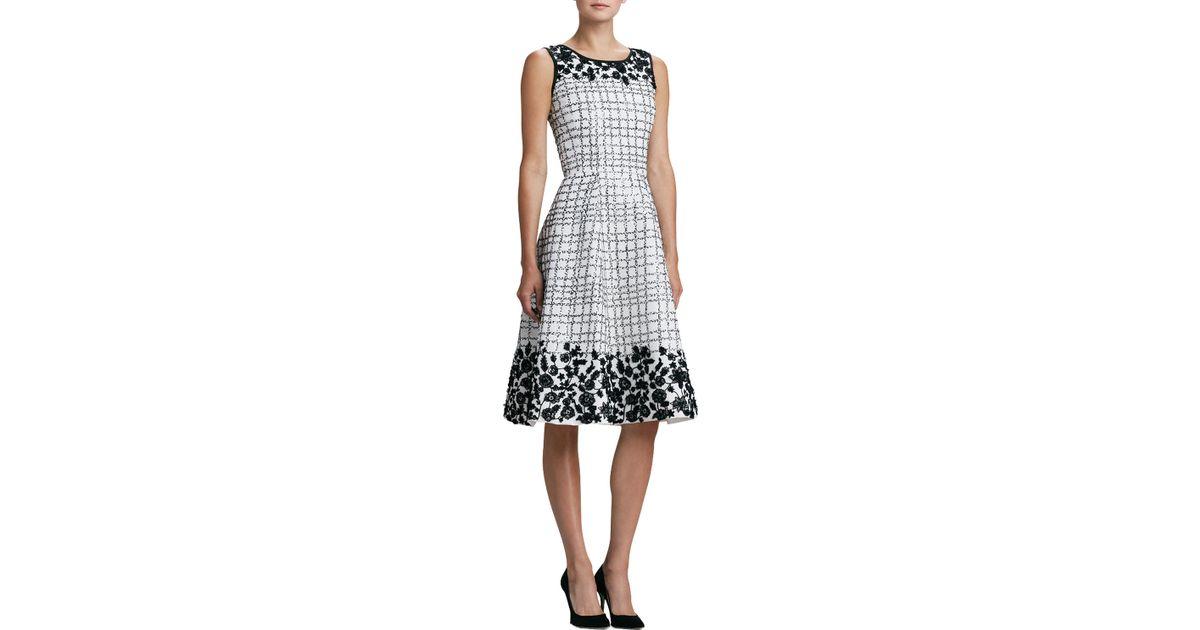 Lyst oscar de la renta floral applique cocktail dress in white