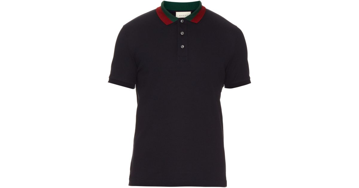 09e14a64 Gucci Floral-embroidered Cotton-blend Polo Shirt in Black for Men - Lyst