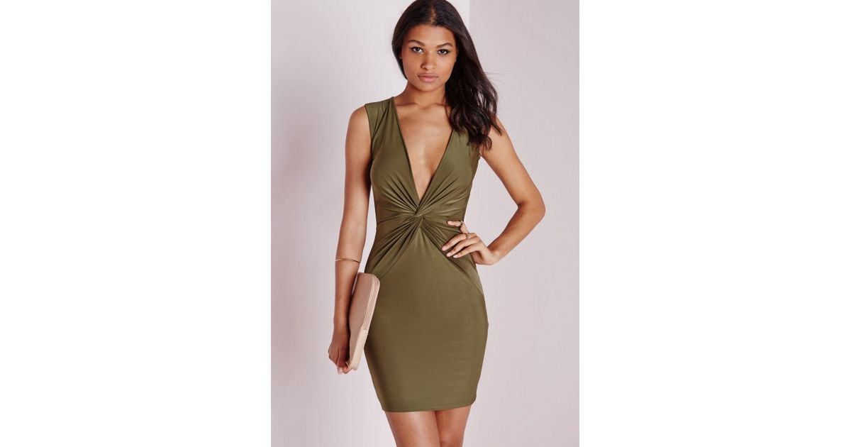 02b3060800e7 Lyst - Missguided Slinky Knot Front Plunge Dress Khaki in Natural