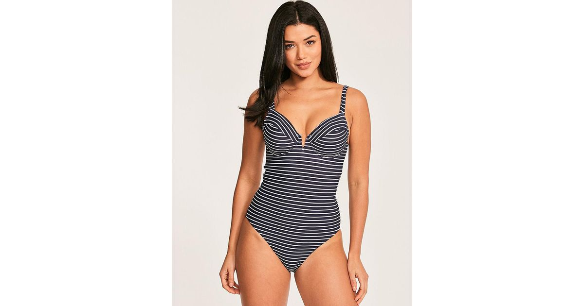 d9859668eeed6 Figleaves Cast Away Stripe Underwired V Plunge Shaping Swimsuit in Blue -  Save 30% - Lyst