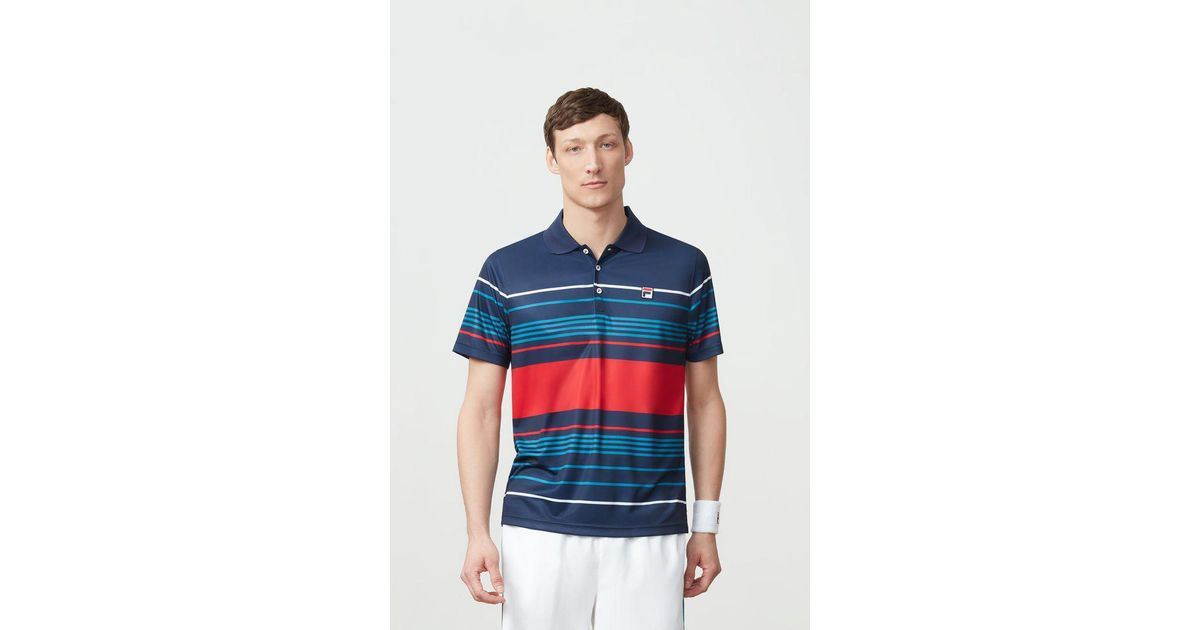 fe55bf634d Fila Heritage Striped Polo in Blue for Men - Lyst