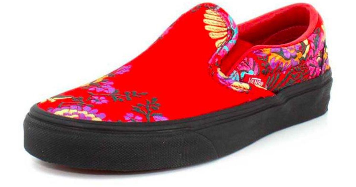 5fc693e851e Lyst - Vans Classic Slip On Festival Satin Womens Red Trainers in Red -  Save 8%