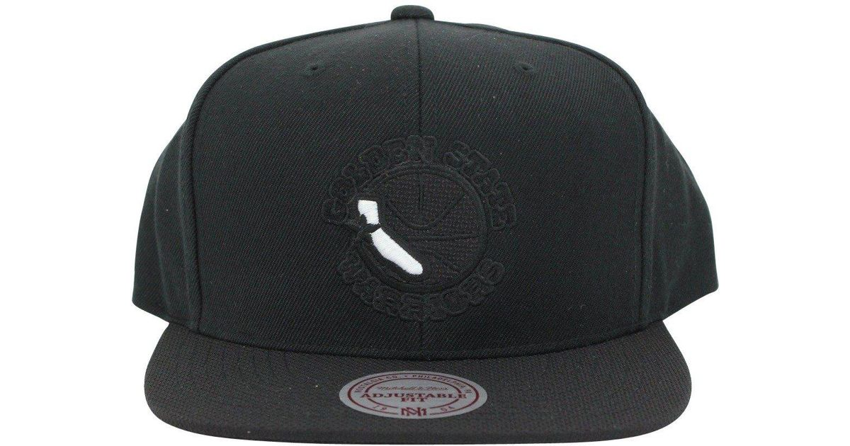 new arrival 16c16 a95f9 Lyst - Mitchell   Ness Golden State Warriors Retro Cali Logo Snapback, Black   White in Black for Men