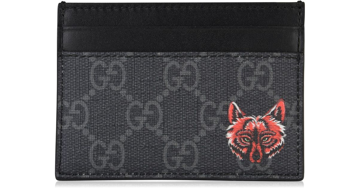 09ec3e3d2214eb Gucci GG Card Case With Wolf Head in Black for Men - Lyst