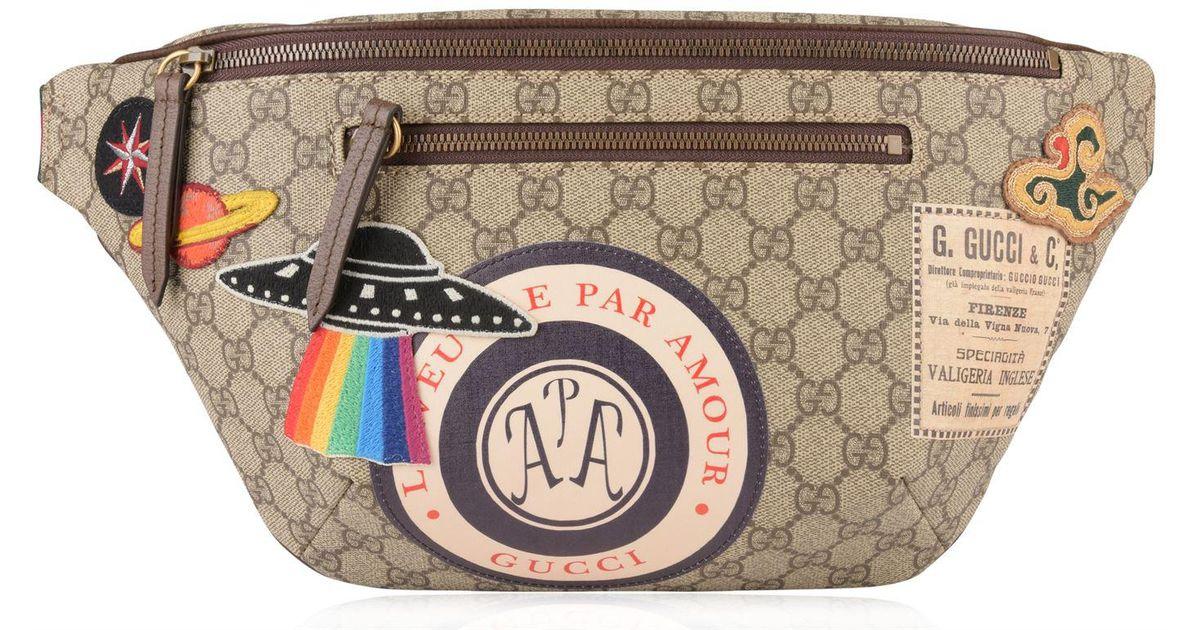 d9f5e42cb8a Lyst - Gucci Gg Supreme Patch Belt Bag in Natural