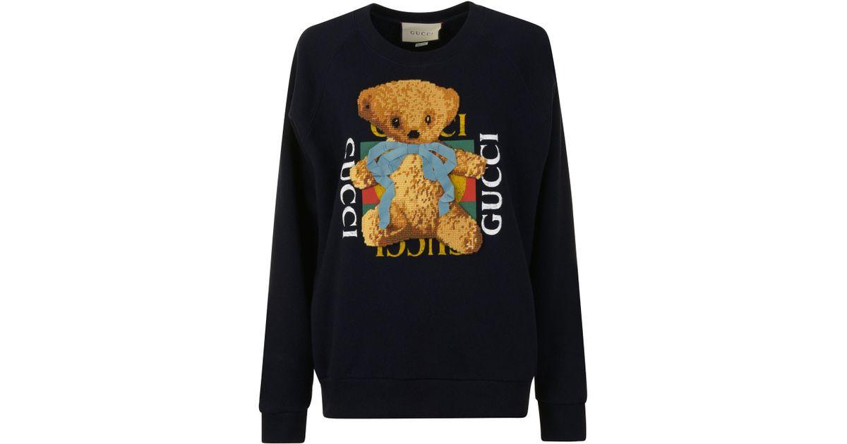 f1334272d08 Lyst - Gucci Teddy Crew Sweatshirt in Blue