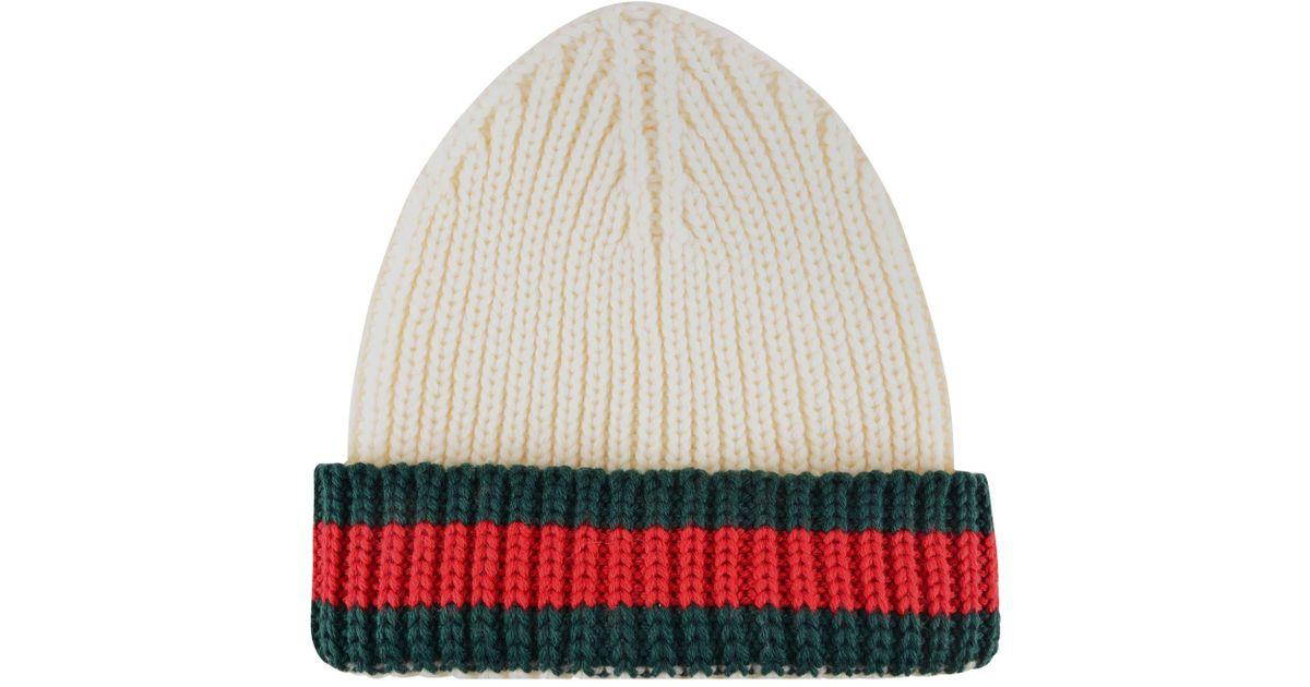 a459d5d7a4d Lyst - Gucci Web Trim Beanie Hat in White for Men