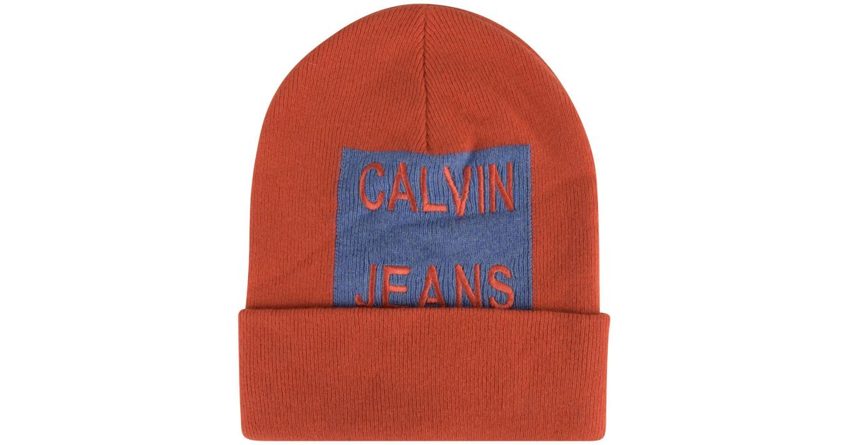 5f954ce02f3 Lyst - Calvin Klein Large Patch Logo Beanie Hat in Red for Men