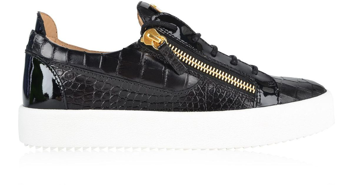 3ee9a3501decbb Lyst - Giuseppe Zanotti May Moc Croc Trainers in Black for Men