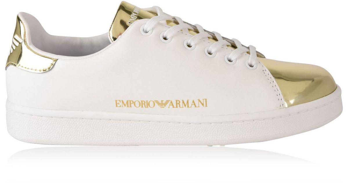 0e276449f5a8 Lyst - Emporio Armani Metallic Toe Logo Trainers