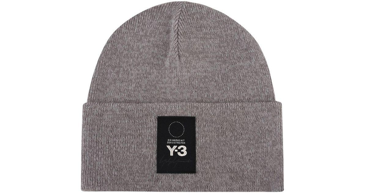 Lyst - Y-3 Logo Patch Beanie Hat in Gray for Men f7d5b7c60756
