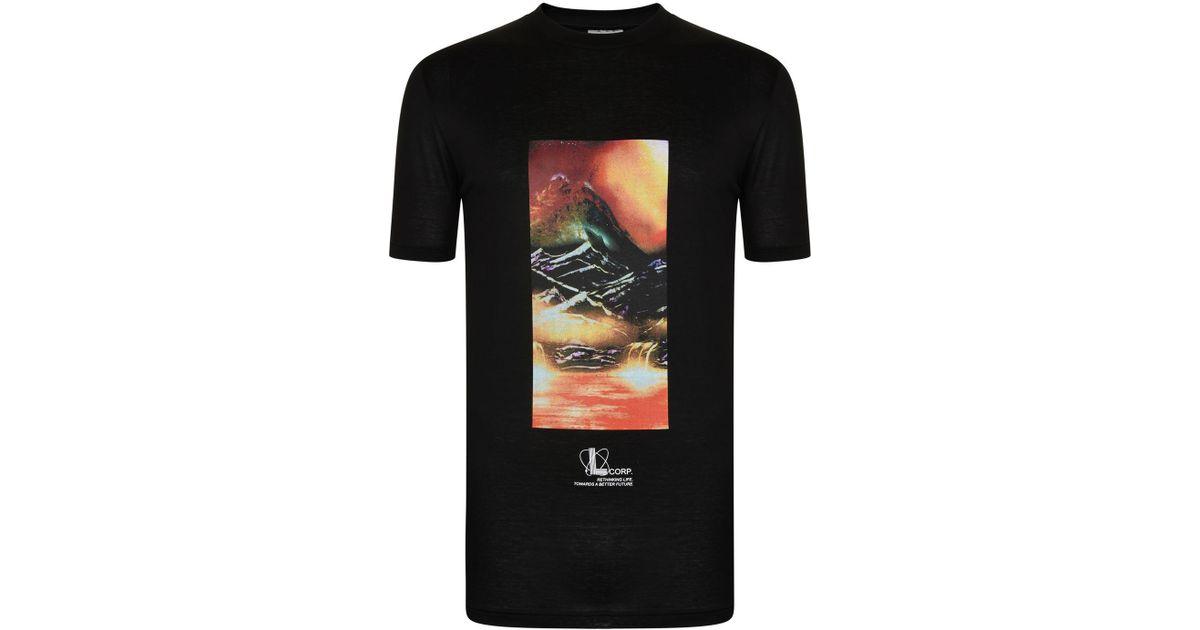 153a1757cab Lanvin - Black Tourist Landscape T Shirt for Men - Lyst