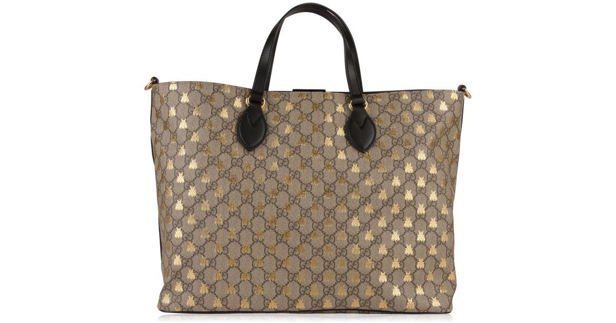 beb67f5e7570 Gucci Gg Supreme Bee Tote Bag in Natural - Lyst