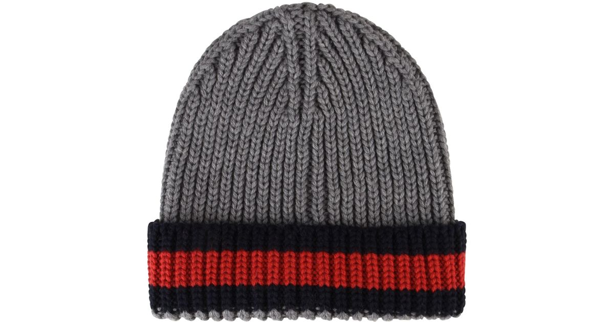 4a05fdeca365a Gucci Web Trim Beanie Hat in Gray for Men - Lyst