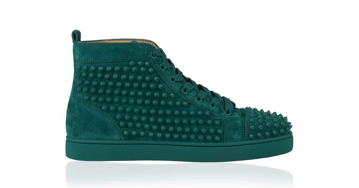 07b2f95d34b9 Lyst - Christian Louboutin Louis Spikes Suede Sneaker in Green for Men