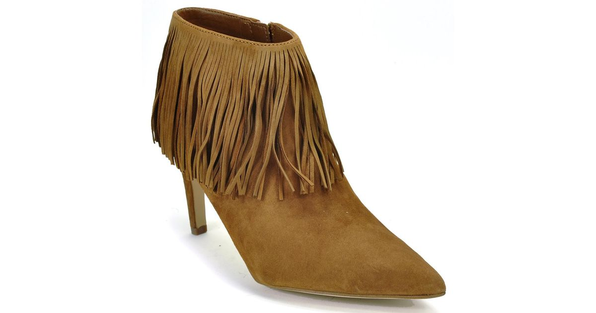 e734ae4502a6c8 Lyst - Sam Edelman Kandice Fringed Suede Ankle Boots in Brown