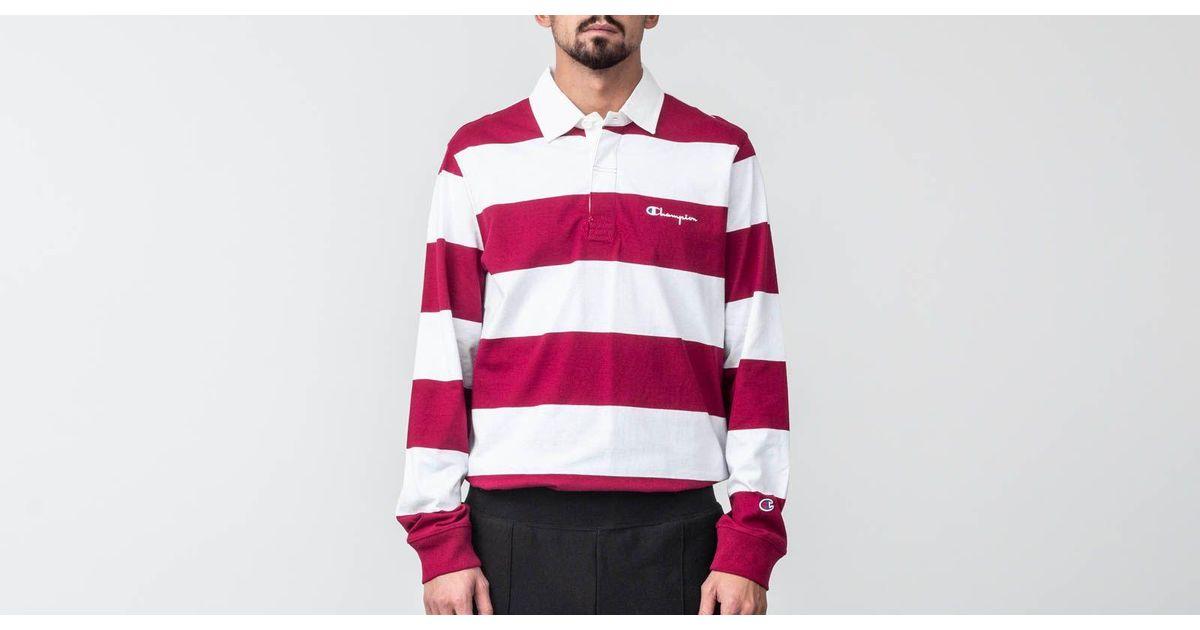 98590c94 Champion Longsleeve Polo Tee Burgundy/ White in Red for Men - Lyst