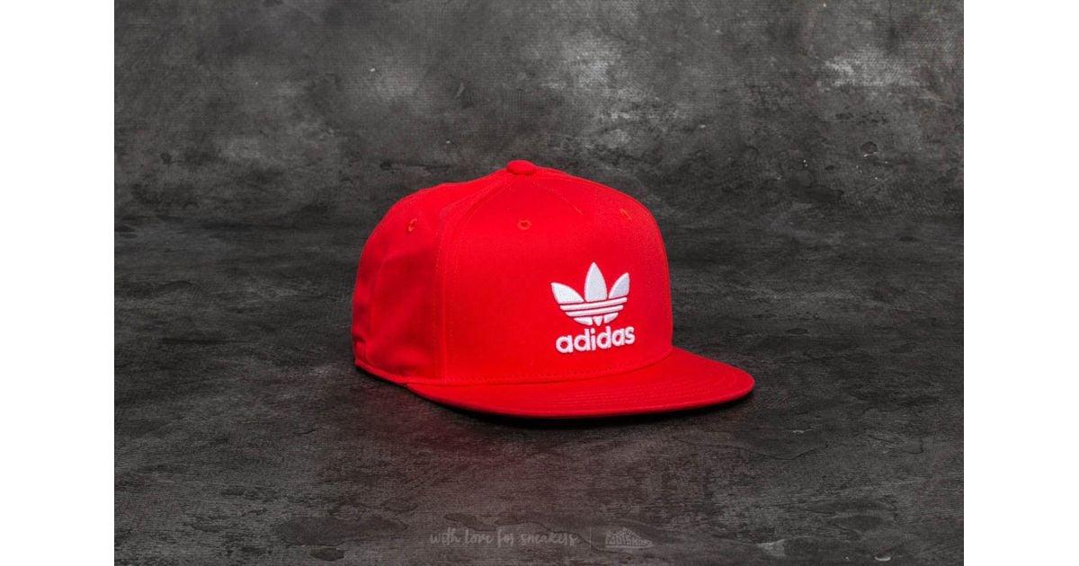 Lyst - adidas Originals Adidas Ac Trefoil Flat Cap Core Red  White in Red  for Men 1e4c182c2d0
