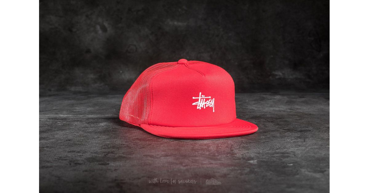 7d3f3f4b040 Lyst - Stussy Puff Print Stock Trucker Cap Red in Red for Men