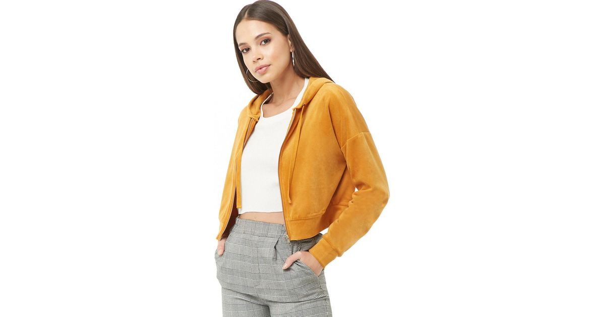 4767a4bc67041 Lyst - Forever 21 Cropped Velvet Zip-up Hoodie