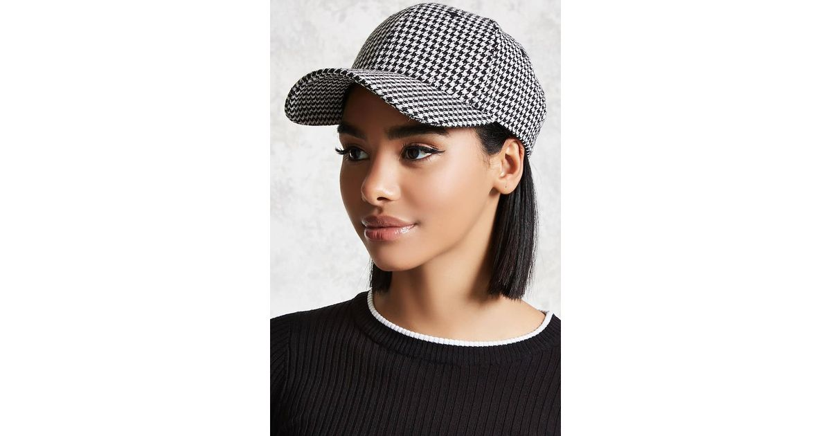 17712d140a0 Lyst - Forever 21 Houndstooth Baseball Cap in Black