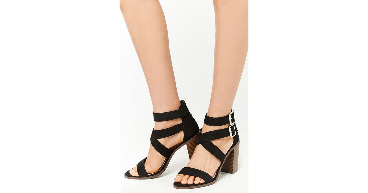 13b9258672f Lyst - Forever 21 Strappy Faux Suede Heels in Black