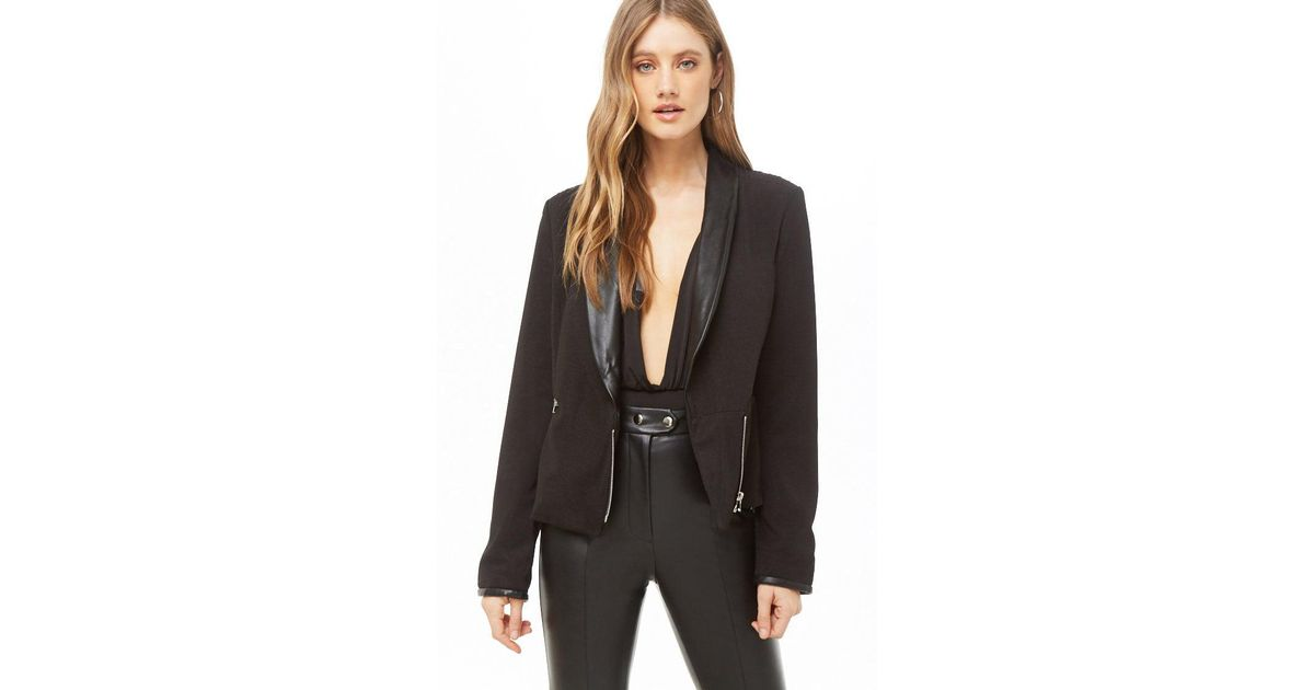0a1a420a3b1 Lyst - Forever 21 Textured Faux Leather-trim Blazer in Black