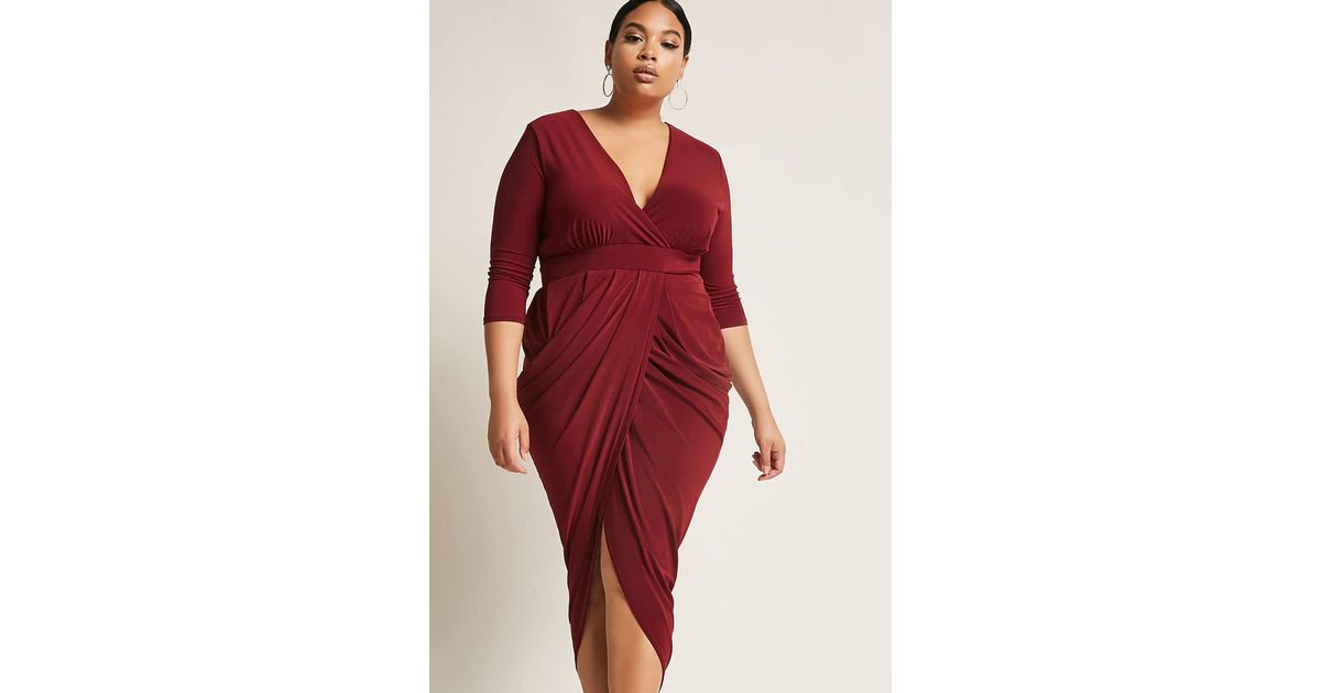 e55ab307f45 Forever 21 Plus Size Surplice Tulip Maxi Dress in Red - Lyst
