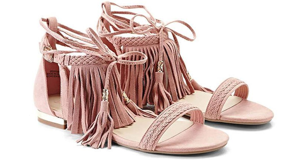 Lyst - Forever 21 Genuine Suede Lace-up Sandals in Pink c4ac4990c07a