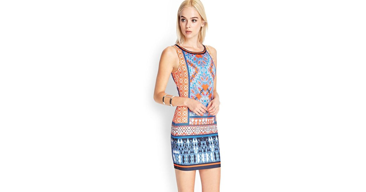 cee1db7e4fb1 Lyst - Forever 21 Abstract Printed Bodycon Dress in Blue