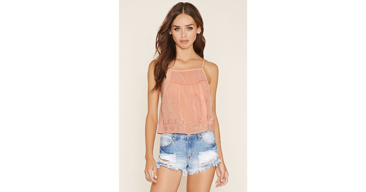 Forever 21 Embroidered Semi-sheer Cami in Pink