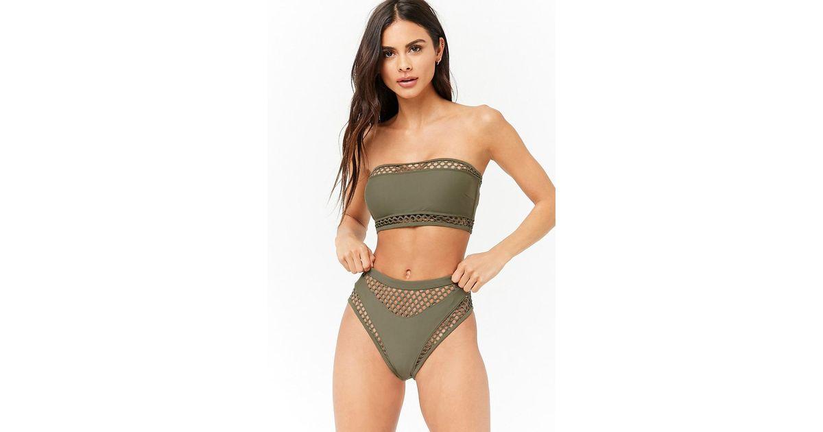 3a5151ef31f11 Forever 21 Women s Fishnet   Solid Bikini Bottoms in Green - Lyst