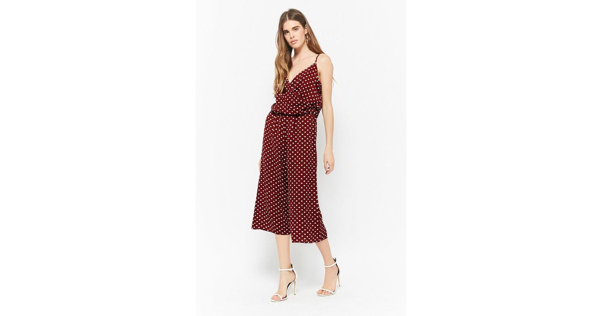 cd4c2b0550d Lyst - Forever 21 Crepe Polka Dot Jumpsuit in Red