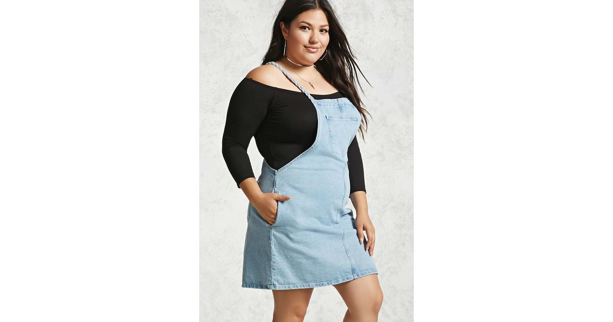 Forever 21 Plus Size Denim Overall Dress In Blue Lyst