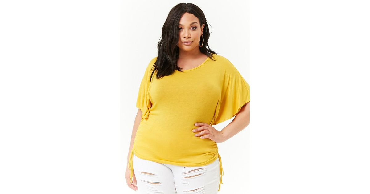 7a347607d44fbe Forever 21 Women's Plus Size Ruched Butterfly-sleeve Top in Yellow - Lyst