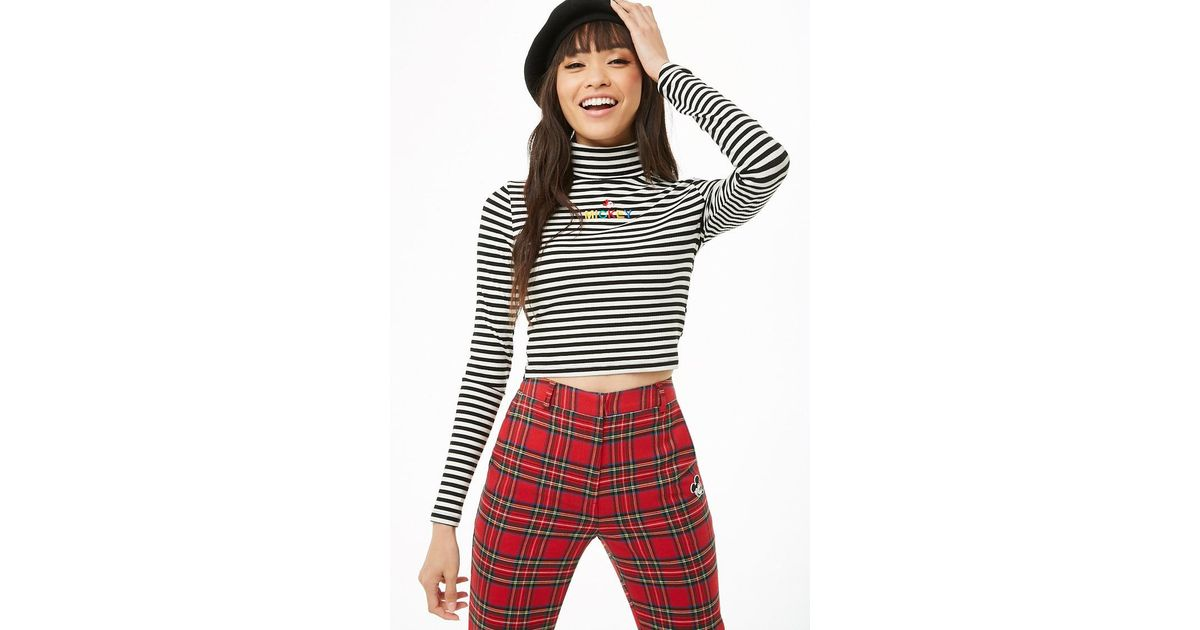 249c8ad3394 Forever 21 Mickey Mouse Striped Crop Top - Lyst