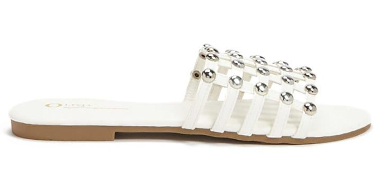 9d49a135d9ed Lyst - Forever 21 Studded Cage Slides in White