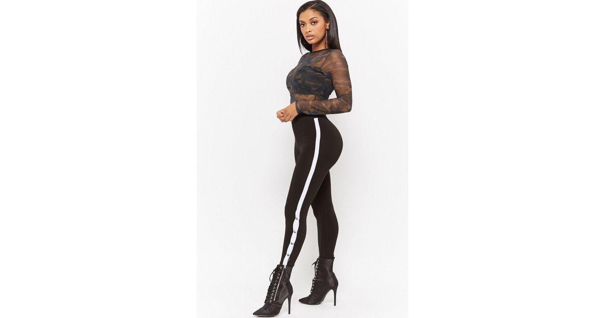 4c7e9f751c5ba5 Forever 21 Kikiriki Contrast Striped Leggings in Black - Lyst