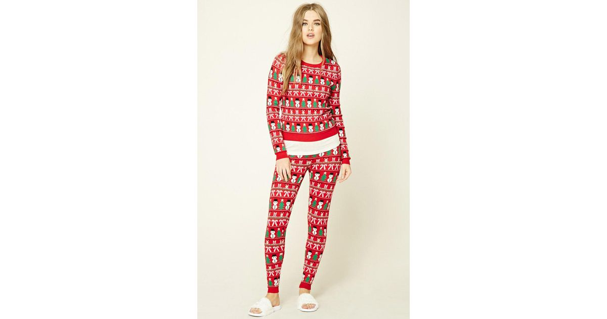Lyst - Forever 21 Holiday Print Sweater Leggings in Red