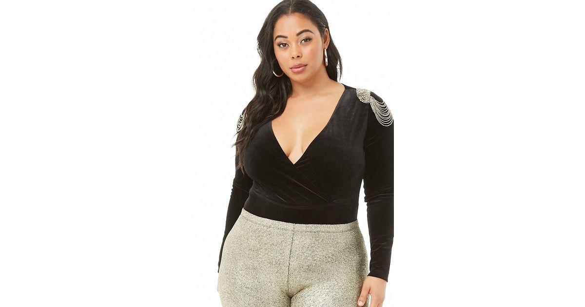 a5890eccec Forever 21 Women s Plus Size Beaded Epaulette Velvet Bodysuit in Black -  Lyst