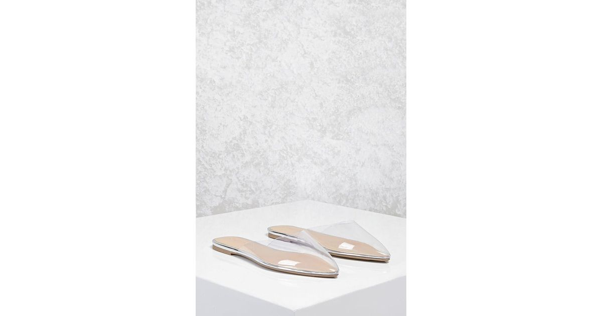 d60dbee3d178 Forever 21 Clear Pointed Toe Flats in White - Lyst