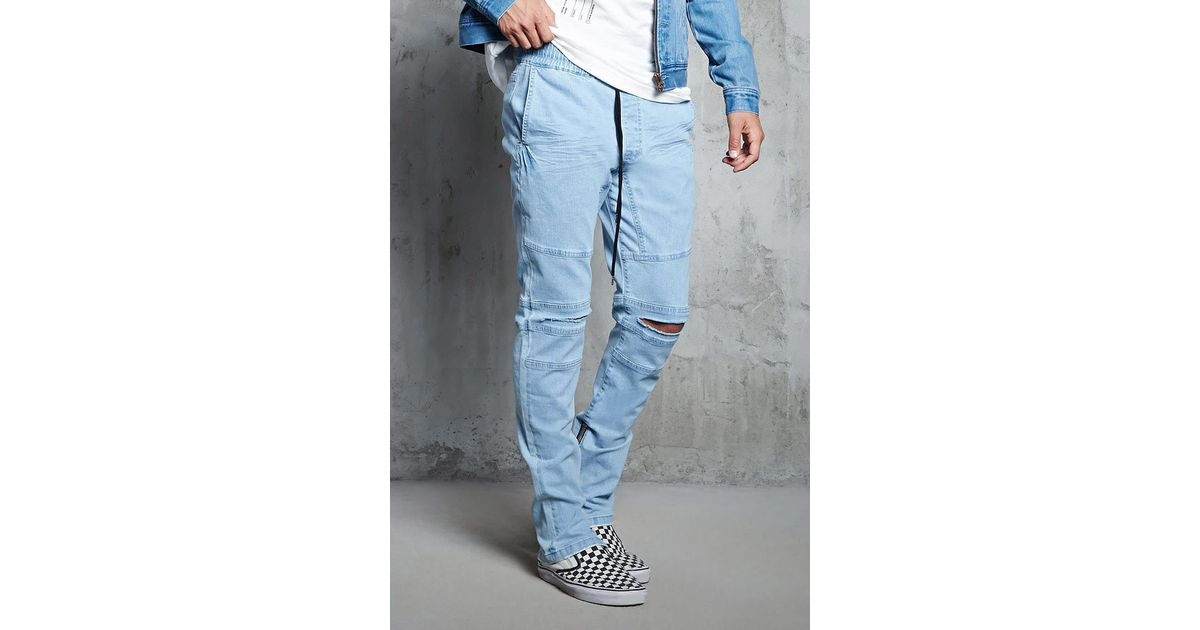 perfect quality most reliable hoard as a rare commodity Forever 21 Blue Distressed Denim Joggers for men