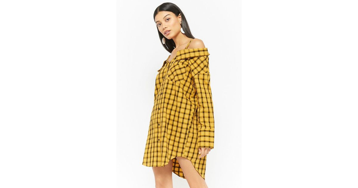 cc3a30a1b696 Lyst - Forever 21 Plaid Open-shoulder Shirt Dress in Yellow