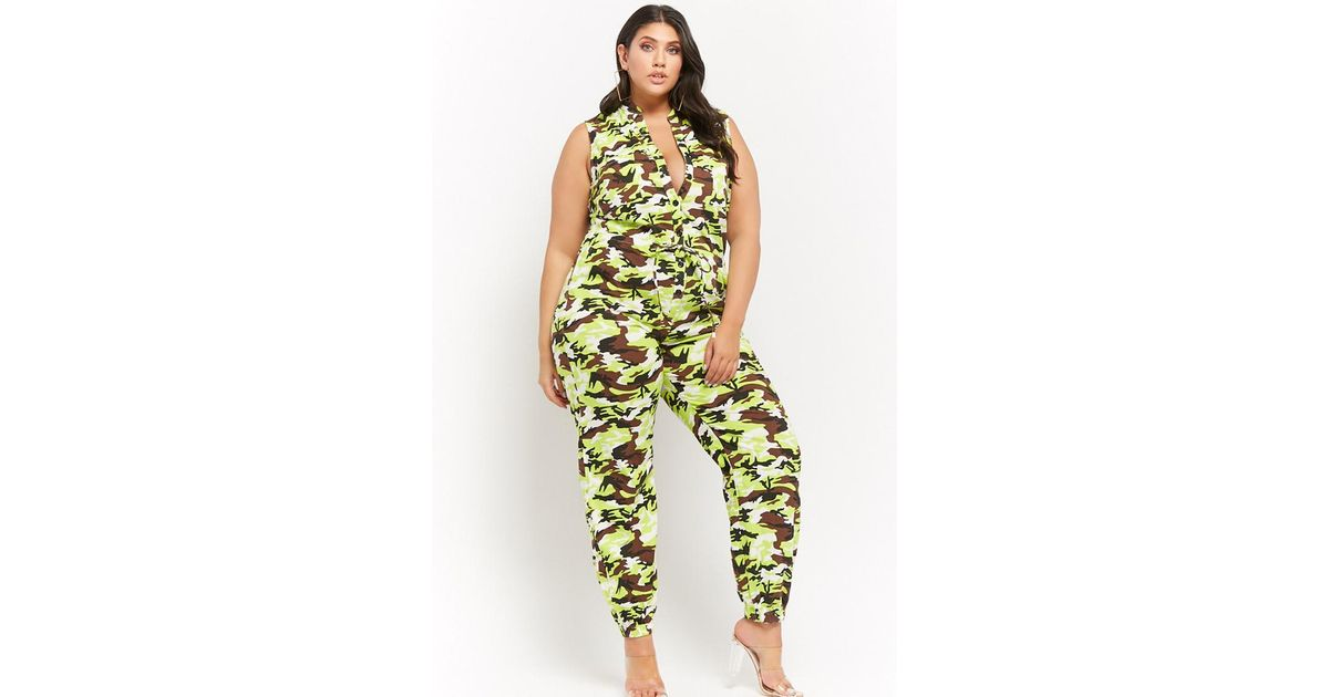 Forever 21 Plus Size Sleeveless Camo Print Jumpsuit In Green Lyst