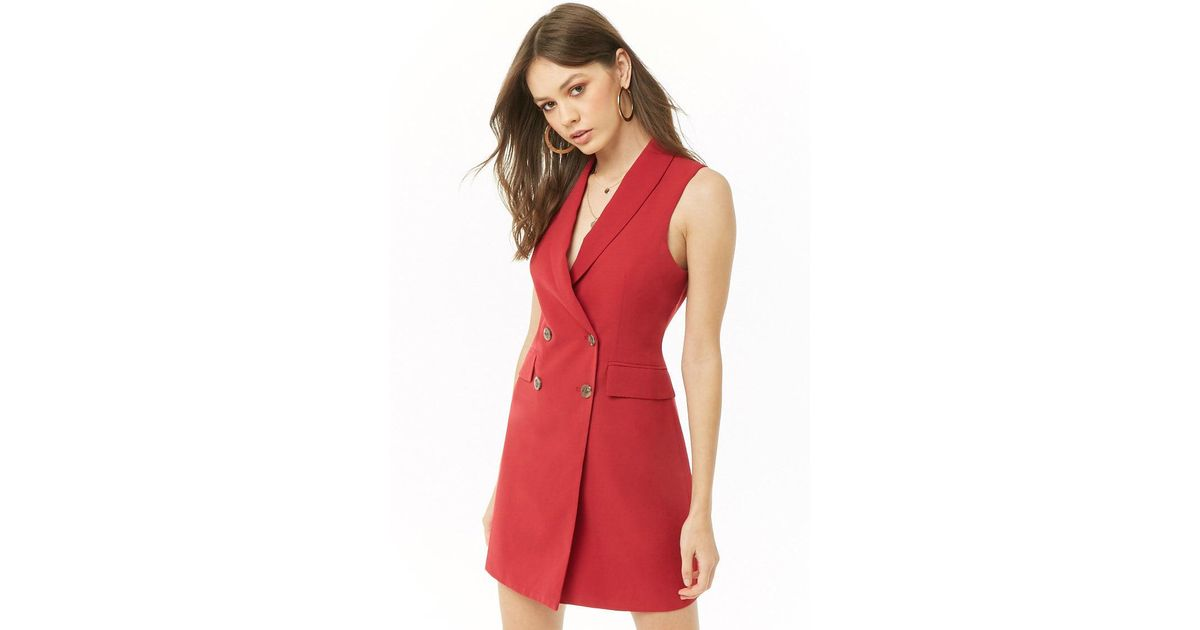 4a715e20f840 Forever 21 Double-breasted Blazer Dress in Red - Lyst
