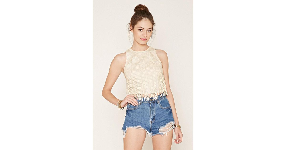Lyst Forever 21 Crochet Fringe Top In White
