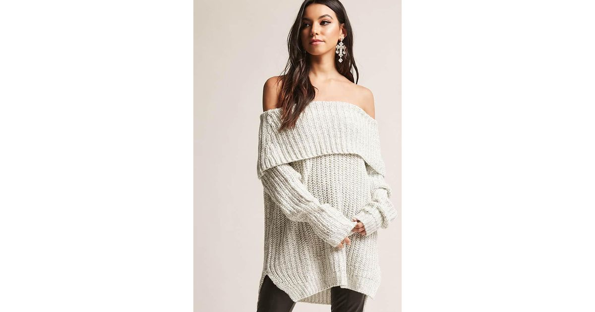 Lyst Forever 21 Ribbed Knit Off The Shoulder Sweater In White