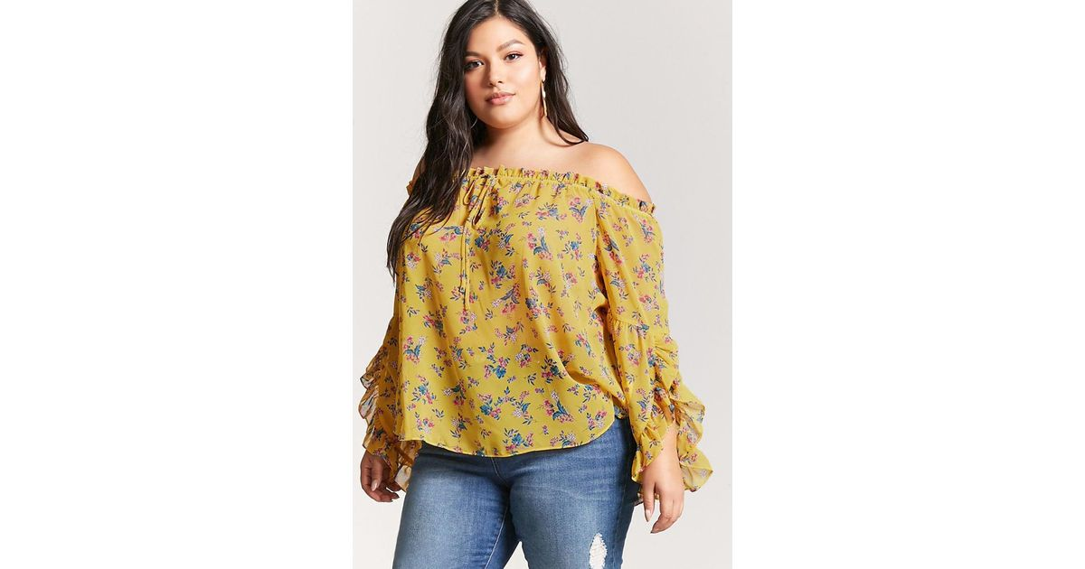 f16e90b5f9c093 Forever 21 Plus Size Sheer Off-the-shoulder Top in Yellow - Lyst