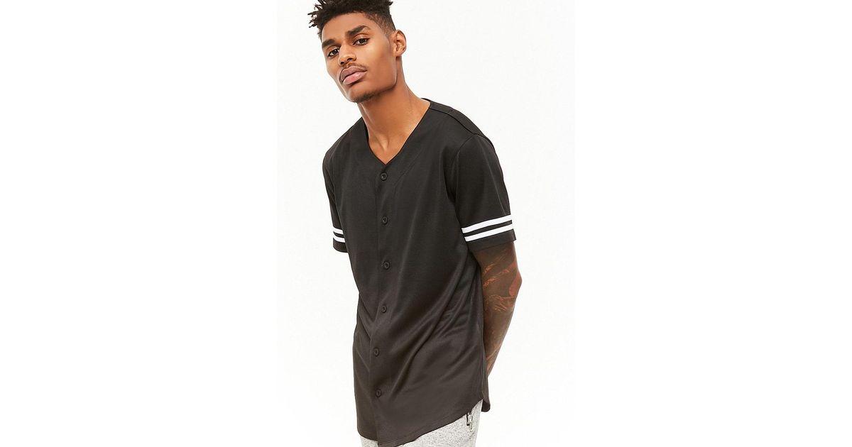 e980b21e3 Forever 21 Varsity-stripe Baseball Jersey in Black for Men - Lyst
