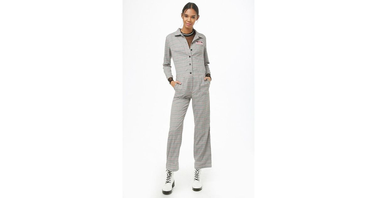 c3cdaf9a01a Lyst - Forever 21 Glen Plaid Utility Jumpsuit in Gray